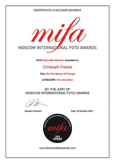 Moscow International Foto Awards 2015 winners certificate for Christoph Franke