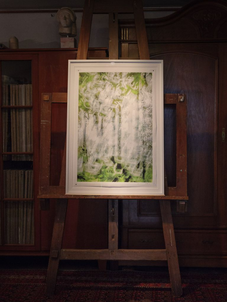 Example framed in a wooden distance frame with museum glass and archival cotton matting